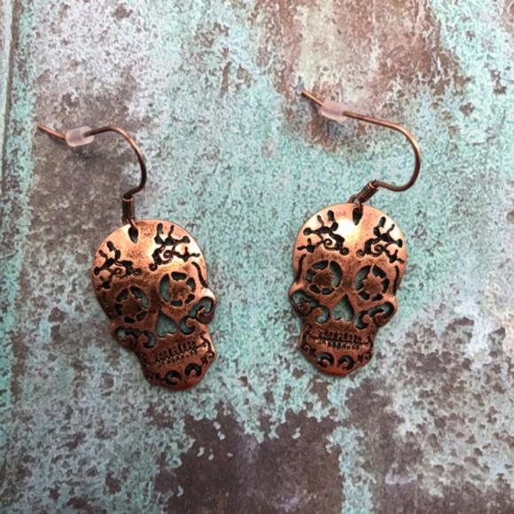 6de7ff2f3 Jewelry | New Mini Sugar Skull Earrings In Copper | Poshmark